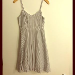 White and grey-striped sundress